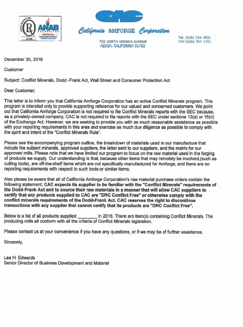 California Amforge Corporation Conflict Management Letter To Customers